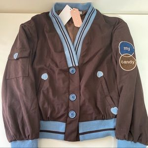 Cute brown blue strips button bomber hearts jacket